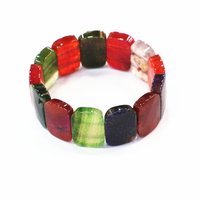 Multicolor Bracelets Women Stone Natural Jades Crystal Agates Geometry 18x25mm Beads Strand Bangles Manual Jewelry 7.5inch B3279