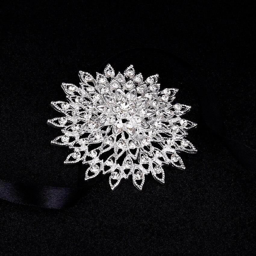 Gümüş rhinestone broş buket büyük broşlar başörtüsü - Kostüm mücevherat - Fotoğraf 5