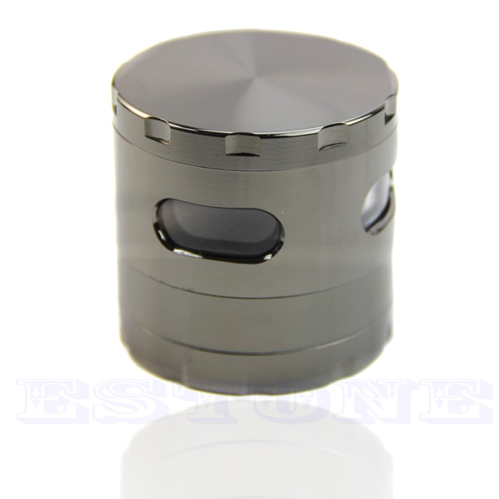 E74 55mm 4 Layers Zinc Alloy Hand Crank Herb Mill Crusher To