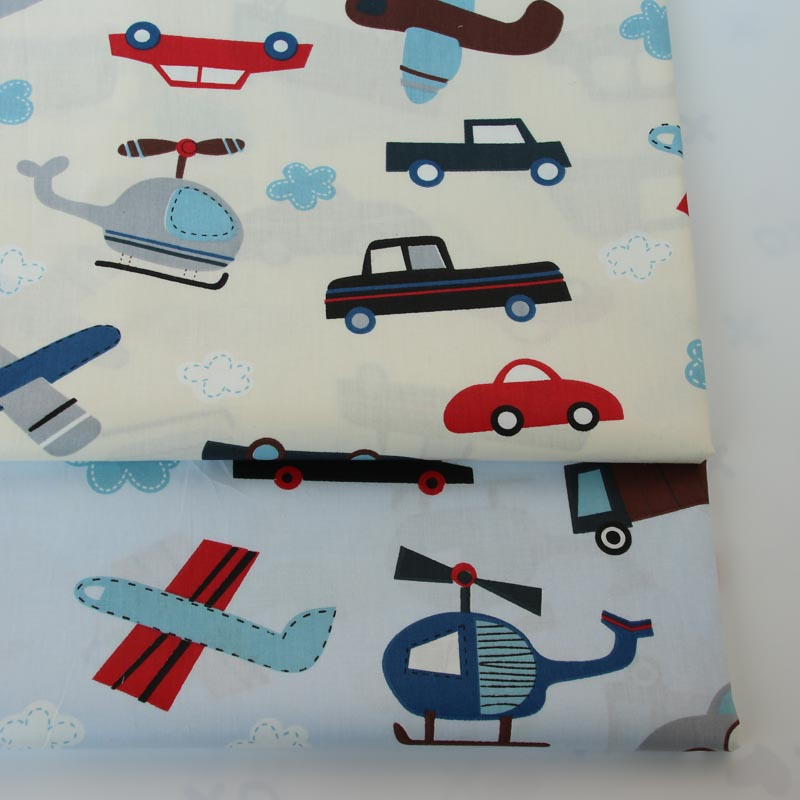 100% cotton twill cloth cartoon beige light blue car Helicopter fabric for DIY kids sheet crib bedding cushions quilting decor