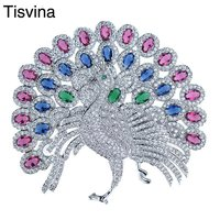 Tisvina Full zircon Coloured crystal inside Big Peacock Brooches for women Bird Pin Brooch Costume jewelry Coat Suit Decoration