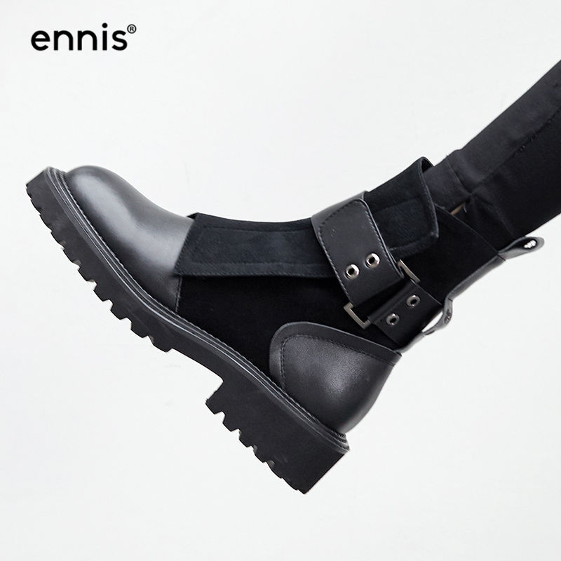 ENNIS 2019 NEW Ladies Black Boots Platform Genuine Leather Boots For Women Buckle Suede Boots Designer