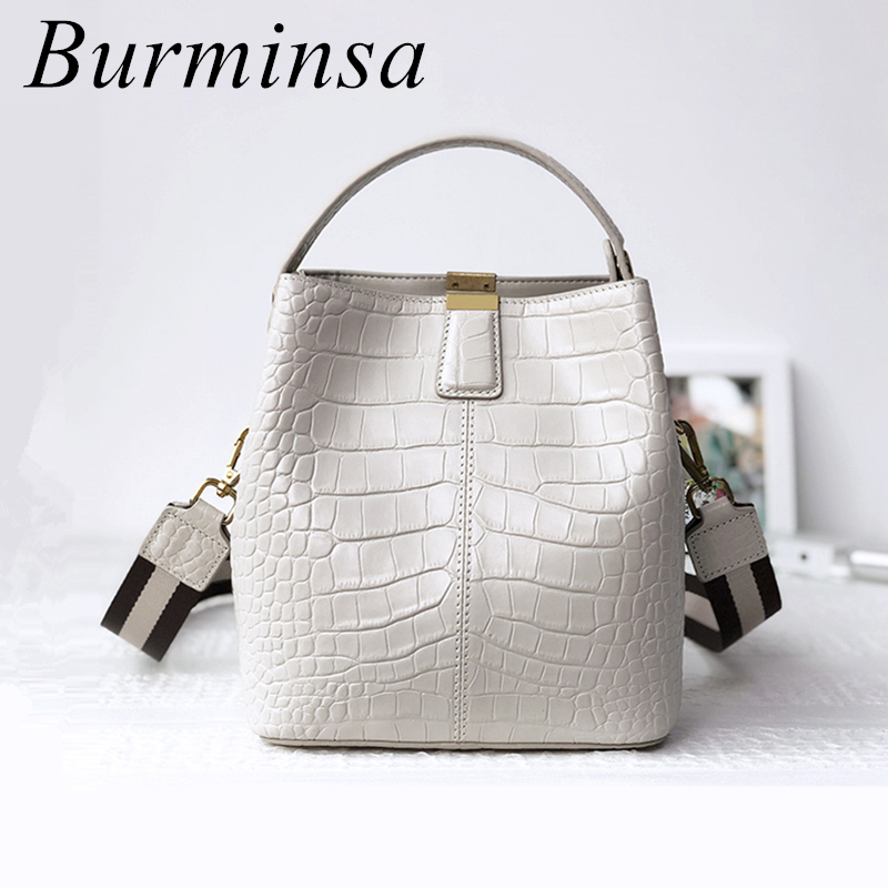 Burminsa Crocodile Print Bucket Genuine Leather Handbags Women Wide Belt Small Shoulder Crossbody Bags Summer 2019 Beige Blue