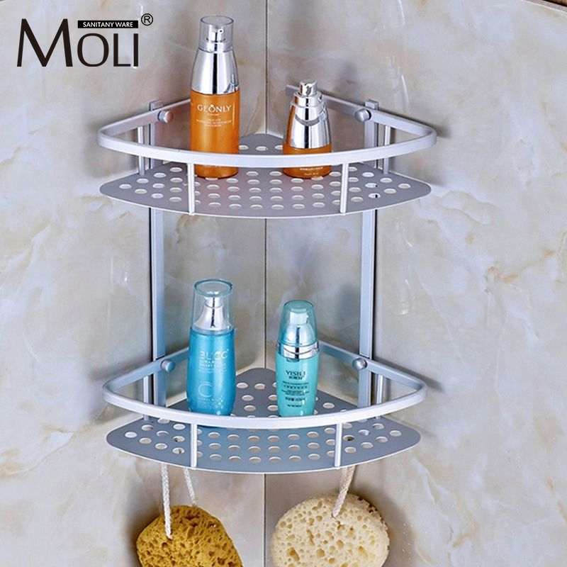 Space Aluminum Bathroom Shelf Shower Shampoo Soap Cosmetic Shelves Bathroom Accessories Storage Organizer Rack Holder factory outlet iron bathroom shelf storage rack shelves multilayer promotions
