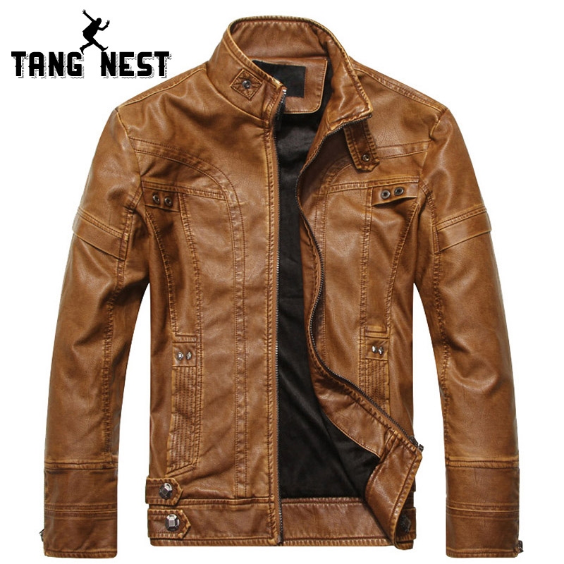 TANGNEST 2018 New Arrival Autumn Winter Fashion Slim-fit Men's Locomotive PU Leather Jacket Plus Velvet Male Coat  5XL MWP503