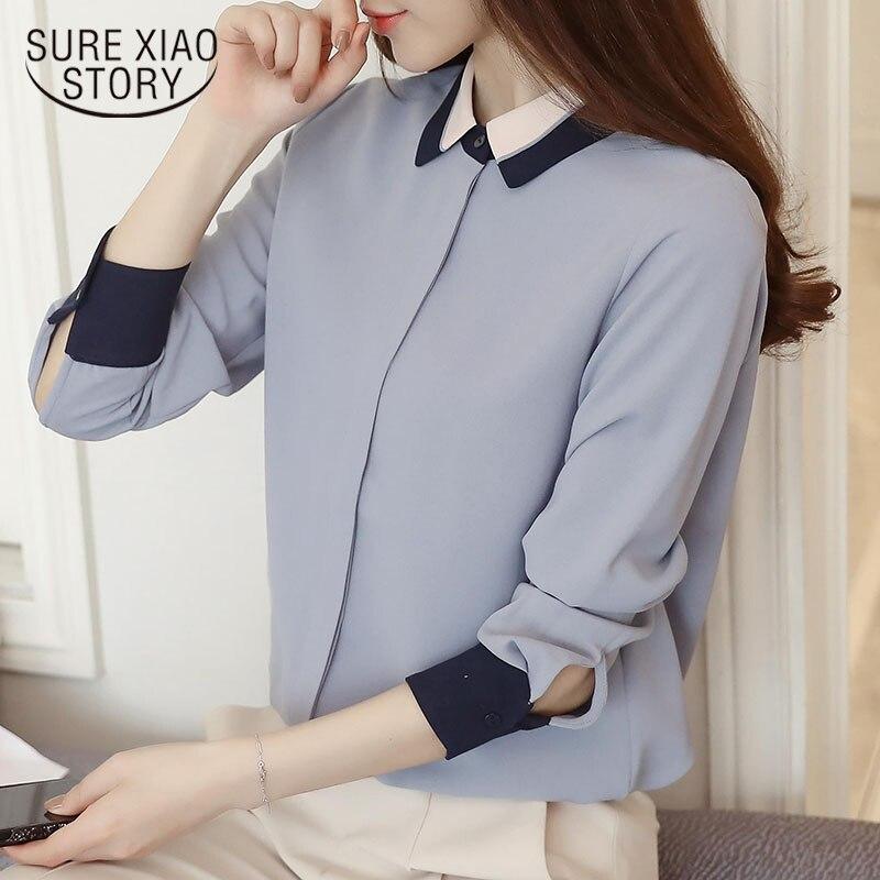 2018 new spring chiffon female blouses women tops fashion casual long sleeved blouses elegant slim full women shirts D471 30