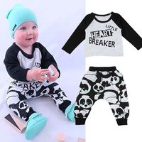 2pcs Newborn Kids Baby Boy Girl T-shirt Tops+Long Panda Pants Clothes Outfit Set