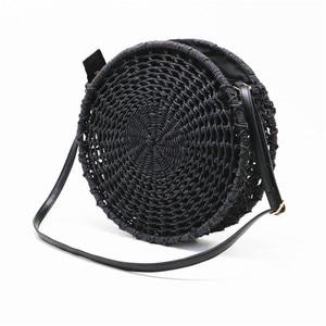 Image 2 - Sac de paille rond ajouré pour dames, sacoche tissée à la main, sacoche à bandoulière