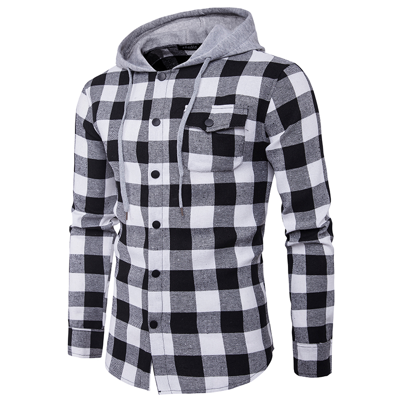 Mens Shirts Fashionable Large Plaid Pocket Decorates Men's Casual Hoodedshirt