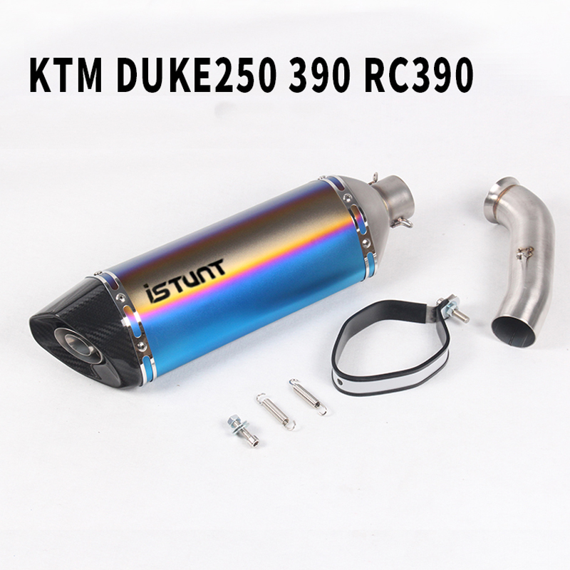 For KTM DUKE 390 250 RC 390 RC390 Motorcycle Exhaust Silencer Middle Link Pipe Moto Escape Accessories 2017 2018 17 Slip-on