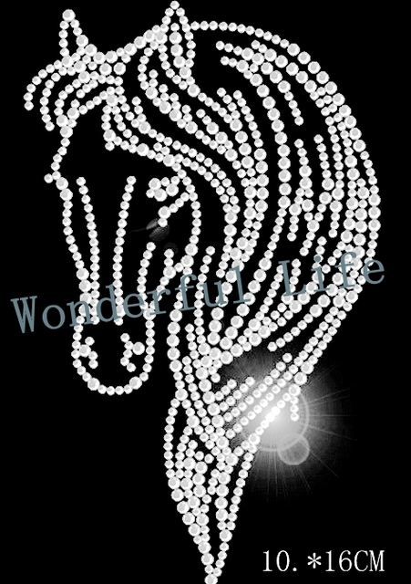 Wonderful life Wholesale free shipping horse head image 4PCS lot Rhinestone  Transfer Iron On Hotfix Image Design e02de7666f3b