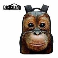 Dispalang Fashion 3D Zoo Animal Backpacks Orangutan Monkey Print School Bag For Teenager Boys Girls Children