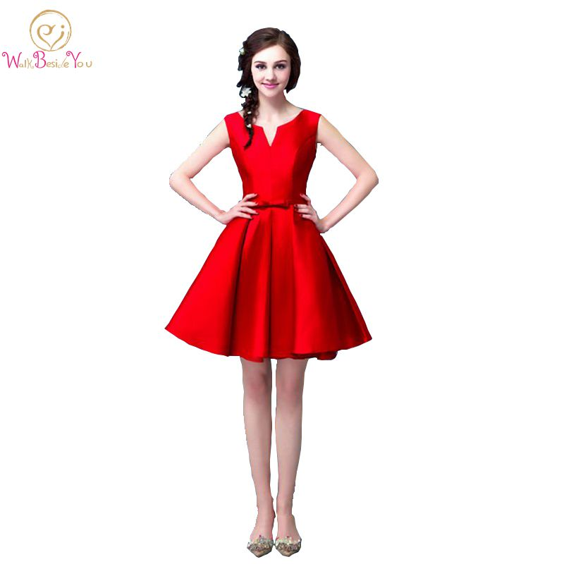 100% Echt Bilder Formatura Braut Sleeveless Red Short Prom Kleid Satin Lace Up Zurück Nach Party Formale Kleider
