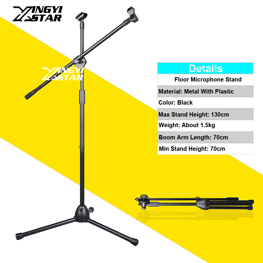 Professional Tripod Floor Dynamic Wired Wireless Microphone Stand For Studio Karaoke Stage Adjustable Condenser Mic Holder Clip heat live broadcast sound card professional bm 700 condenser mic with webcam package karaoke microphone