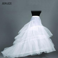 Free Shipping High Quality White Petticoat Train Crinoline Underskirt 3 Layers For Wedding Dresses Bridal Gowns