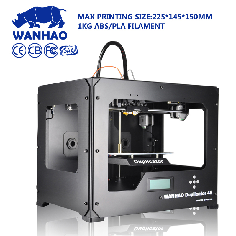 Wanhao D4S desktop 3dprinter,High Quality metal frame reprap kit with Dual extruder with 2 free filaments 8GB SD card hot sale wanhao d4s 3d printer dual extruder with multicolor material in high precision with lcd and free filaments sd card