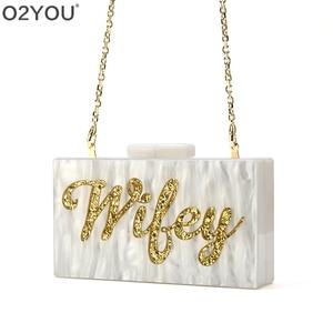 Image 3 - Personalizado nome da letra esposa pérola branco com ouro glitter acrílico bolsas senhora festa de viagem noite caixa acylic embraiagens bolsa