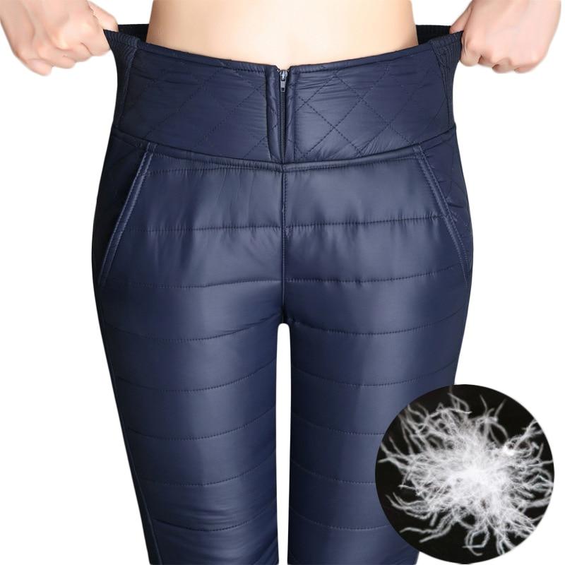 Pantalones formales de las mujeres 2018 de invierno de cintura alta pantalones exteriores pantalones de moda para mujer delgado cálido gruesa abajo pantalones pantalones mujeres más el tamaño