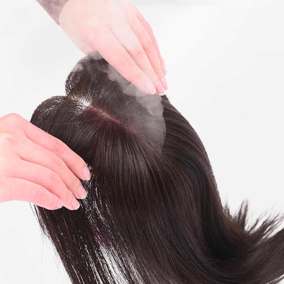 Buqi Мода взрослых женщин черные прямые волосы в сочетании с украшения для волос, удлиненный парик их натуральных волос материал ручной работы волос
