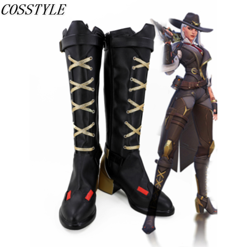 Over watch OW Ashe Cosplay High-heeled Shoes for Women Game Cosplay Ashe High Boots Zipper Shoes Black Golden Custom Made