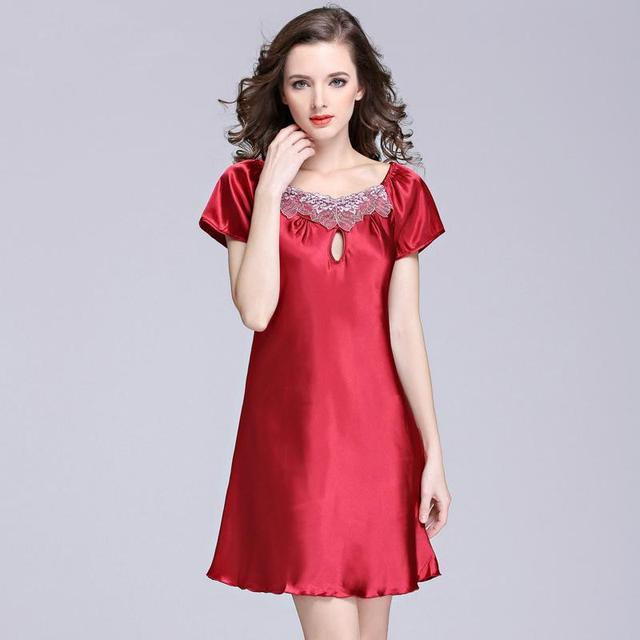 Hot sale Women faux silk satin sexy nightgown short sleeve pure color sleepwear,ladis summer loose home clothes