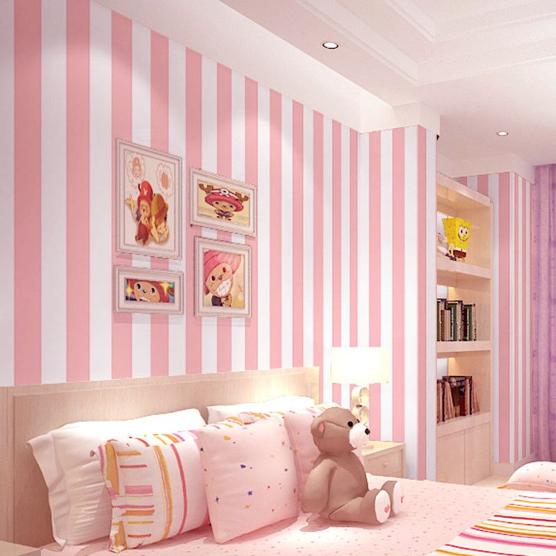 Pink/Blue 3d Stripe Wallpaper Rolls For Girls Baby Child Room Princess 3D Papel Parede 3d Stripe Wall Paper Roll 3d Wallcovering
