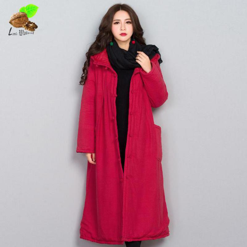 New Arrival Women National Wind All-Match Casual Loose Cotton Chinese Style Parkas Coats Padded Hooded Long Jackets Red Coat