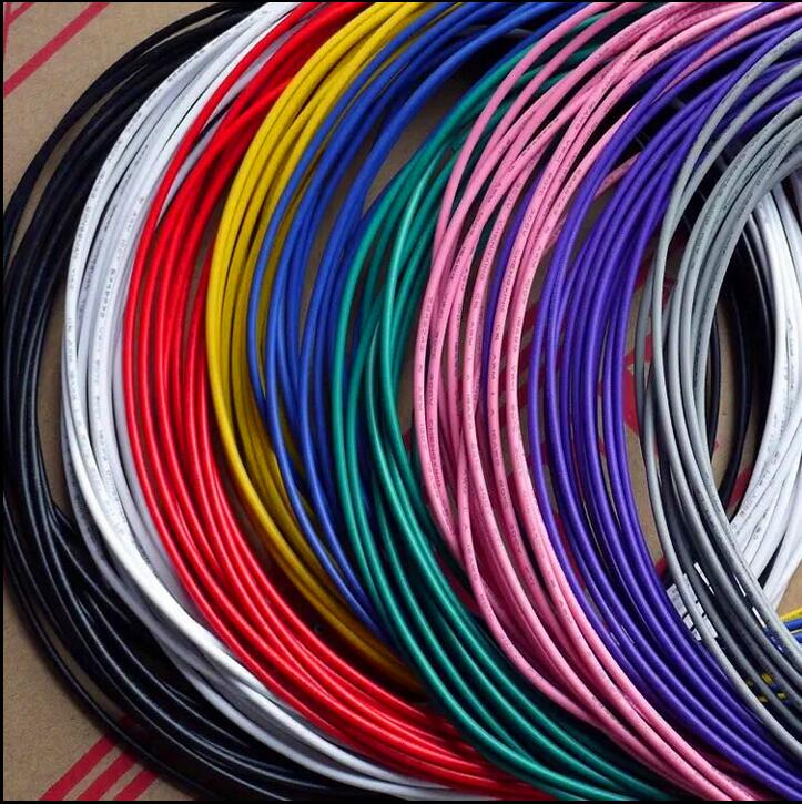 10 11 13 14 <font><b>16</b></font> 18 20 22 24 26 28 30AWG multicolor Silver Plated STRANDED Teflon Wire PTFE high temperature signal cable 5M/1LOT image