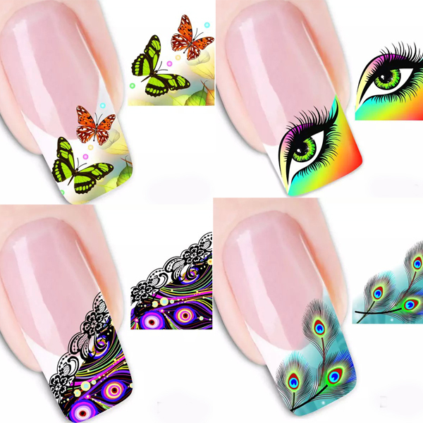 11pcs Nail Art Rainbow Eye Butterfly French Tips Water Transfer Decals Stickers
