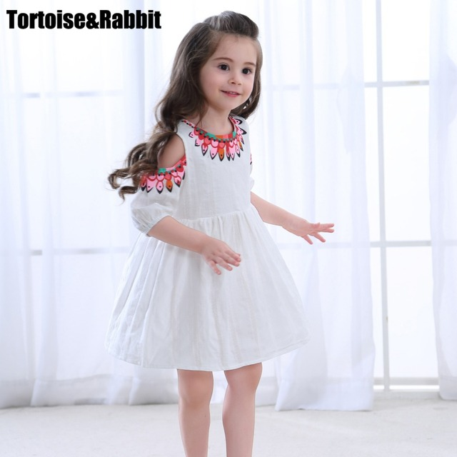 1d34ba09eccb3 US $9.14 5% OFF|Summer Girls Off Shoulder Dress Child Girl A Line Dresses  Kids Pure Color Flower Dress For Party Children Beach Dance Clothes-in ...