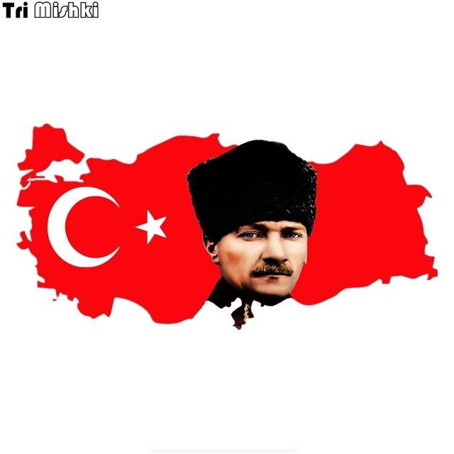 Tri Mishki WCS327 20*10 cm bandera Mapa de Turquía y Mustafa Kemal atoturk coche pegatina colorido automóvil calcomanías oto aksesuar