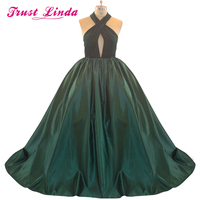 Gorgeous Green Halter Big Full Skirt Ball Gown Mother Dresses 2018 Sexy Backless Criss-Cross Real Prom dresses Evening Gowns