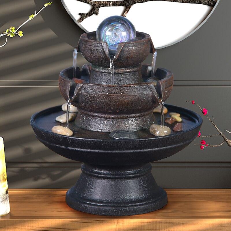 Fontaines d'eau d'intérieur résine fontaines décoratives artisanat cadeaux Feng Shui fontaine bureau maison fontaine 110 V 220 V A