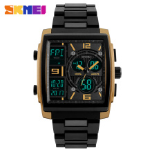 SKMEI Rectangle Sport Digital Watch Men Electronic Quartz Dual Display Watches Analog LED Wristwatch Man Chronograph Countdown skmei skmei big dial dual time display sport digital watch men chronograph analog led electronic wristwatch s shock clock