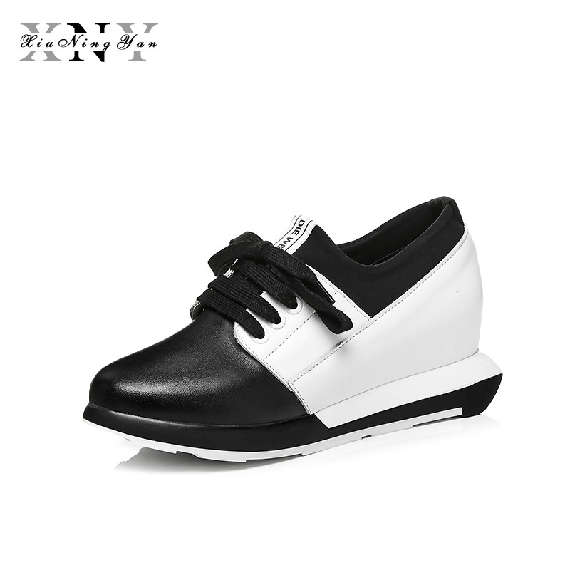 XiuNingYan Flat Platform Shoes Women Sneakers Height Increasing Lace-up Loafers Genuine Leather Fashion Flats Woman Casual Shoes bonjomarisa large size 33 42 women s genuine leather lace up wedges increasing platform shoes woman casual spring flats