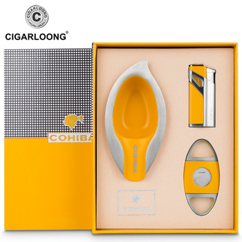 cohiba metal cigar ashtray set Cigar lighter cigar knife cutter black yellow red color gift set box CL-TZ-9