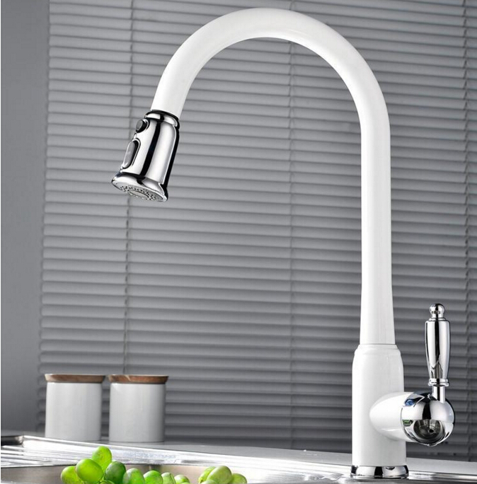 New Style Top Quality Brass Spring Pull Out Kitchen Sink Faucet Single Handle Hot Cold
