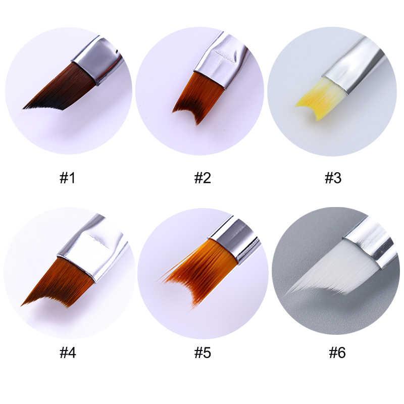 ภาษาฝรั่งเศสคำเคล็ดลับเล็บแปรง Silver Black Handle Half Moon อะคริลิควาดภาพวาดปากกาเล็บเล็บเครื่องมือ Art