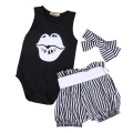 3pcs Toddler Infant Sleeveless Girls Boys Outfits Headband+T-shirt+Pants Kids Clothes Set 0-24M