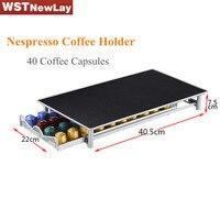 Titulaire de stockage Nespresso 40 Capsule Café Pod Rack Cuisine Organisateur Étagères Capsule Outil En Métal Tiroir Livraison Gratuite