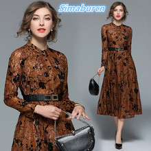Spring Women Brown Dress 2018 O Neck Female Long Lace Dress Ladies Long Sleeve Loose Temperament Slim Vintage Dresses S-XXL spring women printed dress 2018 casual turn down collar femme long dress ladies long sleeve loose red vintage dresses s xxl
