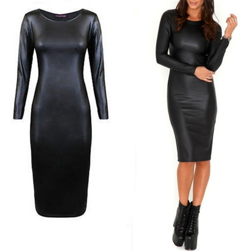 bcd20b60c98b1 New Celebrity Sexy Black Faux Leather Dress Women Long Sleeve PU Leather  Bodycon Dress Sexy Club Dress Party For Women XXL-in Dresses from Women's  Clothing ...