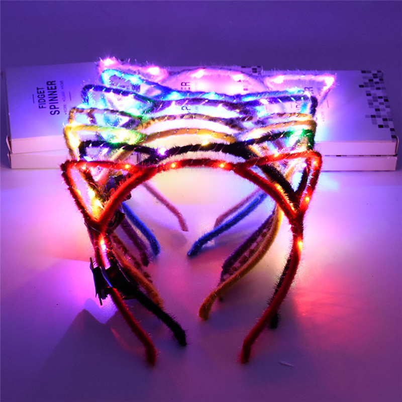 1Pc LED Flashing Cute Pointed Cat Ears Hair Hoop Women Girls Glowing String Lights Plush Cloth Wrapped Headband Party Supplies