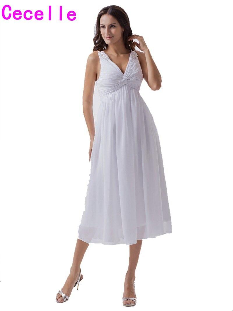 Informal Beach Chiffon Maternity Wedding Dresses 2017 Empire Waist - Short Casual Wedding Dress