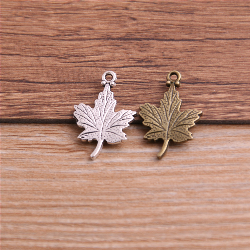 PULCHRITUDE 20pcs 15*23mm Antique Two Color Zinc Alloy Hollow Mini Tree Leaf Charms Fit DIY Jewelry Pendant Charms Making P6477