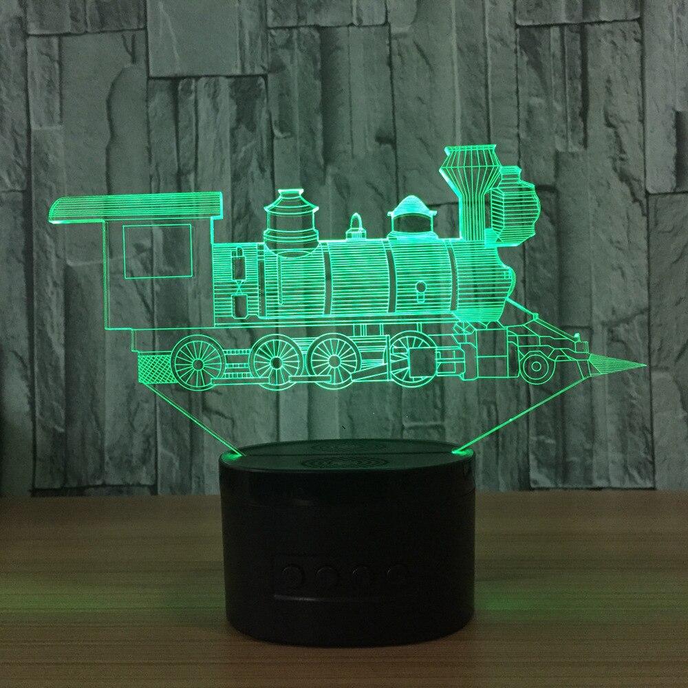 N414 3D Поезд огни фигурку модель Стиль светодиодные лампы 7 цветов Изменение атмосфера Спальня лампа Таблица декора дома лампа
