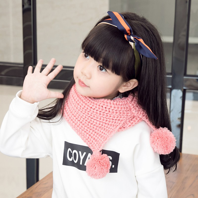 Winter Cotton Baby Scarf Children Girls Boys Kintted Wool O-Scarves Chidren Outing Protect Kint Solid Color Hat