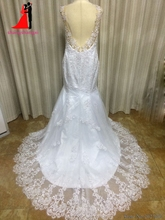 New White Plus Size Mermaid Wedding Dresses 2017 Lace Bridal Gown Vestido de noiva