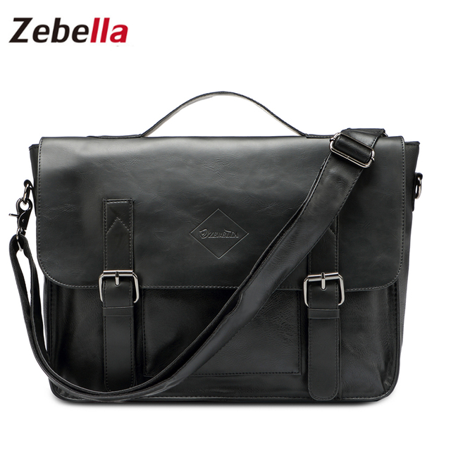 f2cdc2d9ae Zebella Qualité Noir Vintage PU Porte-Documents En Cuir Hommes Messenger  Sacs Hommes D'