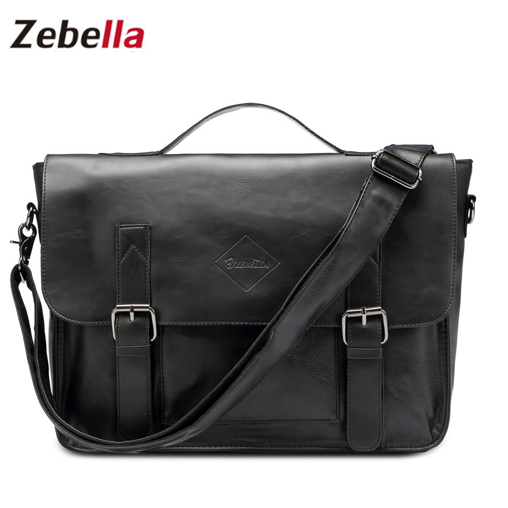 Zebella Quality Black Vintage PU Leather Briefcase Lelaki Messenger Bags Lelaki Perniagaan Office Bag Bag Office Laptop Handbag